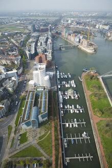 Germany, North-Rhine-Westphalia, Duesseldorf, View of Media Harbour, elevated view - UK00177