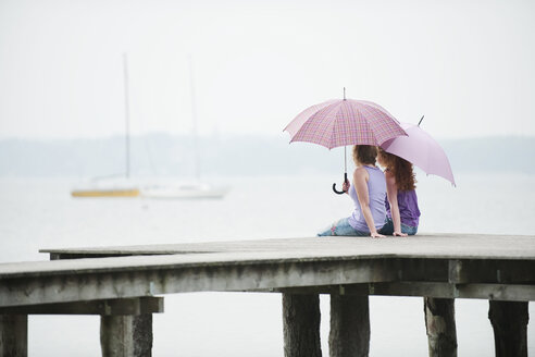Germany, Bavaria, Ammersee, Two Women sitting on jetty, holding umbrella, rear view - WESTF12247