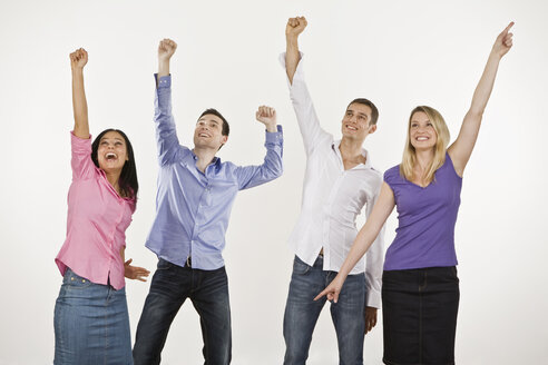 Four persons cheering, hands up - LDF00741