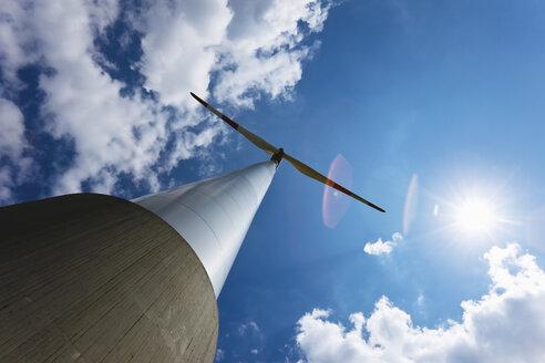 Germany, North Rhine-Westphalia, Garzweiler, Wind turbine, low angle view - 11476CS-U