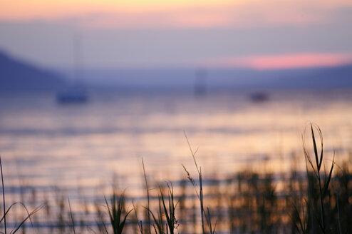 Germany, Baden Württemberg, Meersburg, Lake Constance, afterglow - SMF00475