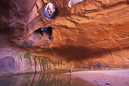 USA, Utah, Grand Staircase-Escalante National Monument, Neon Canyon, Tourist in Golden Cathedral - FOF01668