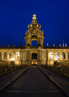 Germany, Saxony, Dresden, Zwinger palace with Crone gate at night - PSF00372