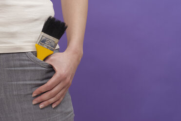 Person with paint brush in pocket, mid section - KJF00074