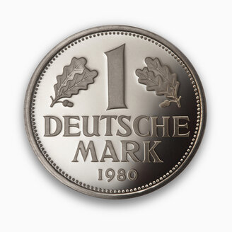 Deutschmark coin, close-up, elevated view - THF01088