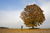 Germany, Bavaria, Man throwing leaves into air - FOF02028