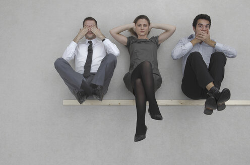 Three business people, See no evil, hear no evil, and speak no evil, elevated view - BAEF00048