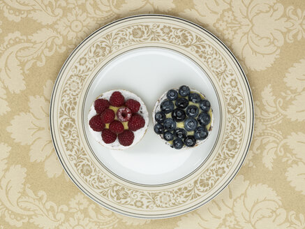 Raspberry and blueberry tratlet in plate against patterned background - AKF00139