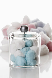 Cotton balls in container on white background - 12317CS-U
