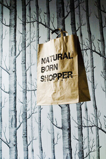 Brown paper bag hanging in studio - HOEF00263