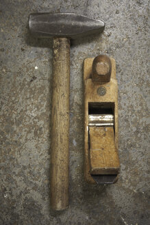 Close up of Old hammer and smoothing plane - TLF00449