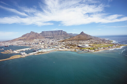 South Africa, Cape Town, Aerial view of city on island - RR00181