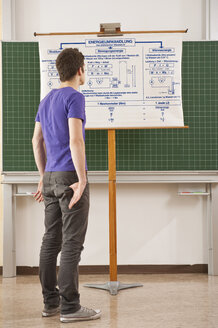 Germany, Emmering, Teenage boy watching at chart with hands in pocket - RNF00275