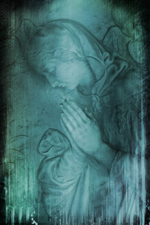 Germany, Stuttgart, Carving of Virgin Mary on gravestone - AWD00567