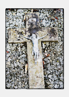 Alsace, France, Crucifix on grave stones - AWD000582