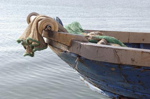 Italy, Sardinia, Cagliari, Fishing boat with net hoist - LRF000525