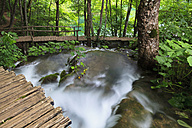 Europe, Croatia, Jezera, View of boardwalk at plitvice lakes national park - FOF002277