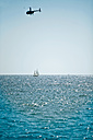 Mexico, View of helicopter and boat with alantic ocean - MFF000412