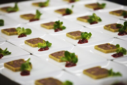 Appetizing canapes arranged in row - HKF000282