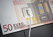 Electrical oulet on 50 euro note, close up - WBF000213