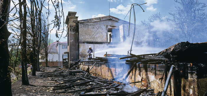 Czechia, View of burned house - WBF000292