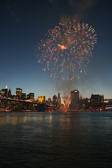USA, New York, View of fireworks over hudson river at night - HKF000369
