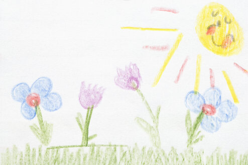Germany, Munich, Child's drawing of nature in exercise book - CRF001947