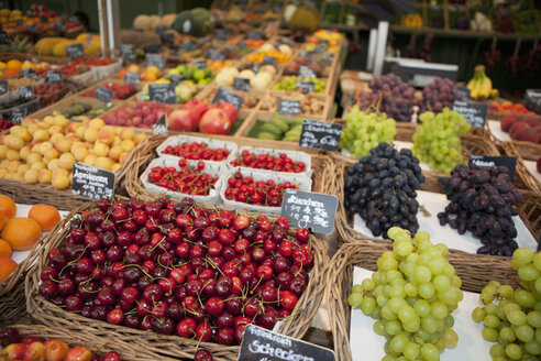 Germany, Munich, Variety of fruits in basket at market - SKF000409