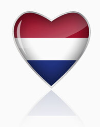 Dutch flag in heart shape on white background - TSF000090
