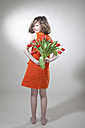 Girl with flowers for mother's day, smiling, portrait - MAEF003076