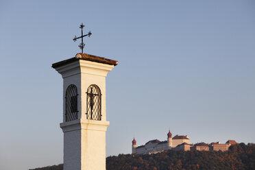 Austria, Lower Austria, Mostviertel, Wachau, Tower of shrine with Goettweig monastery in background - SIEF000121