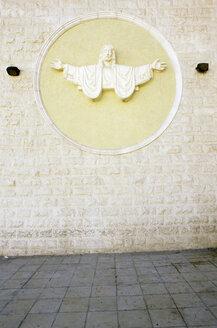 Amman, Jordan, View of jesus statue on wall - PMF000878