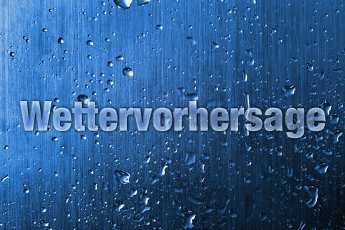 Text on metallic background with water drops, close up - TSF000118