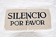 Spain, Balears, Menorca, Tile with text on wall - UMF000302