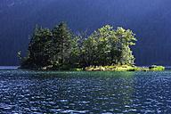 Europe, Germany, Upper Bavaria, Eibsee, View of lake with island - TCF001420