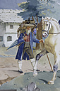Europe, Germany, Upper Bavaria, Oberammergau, Toy dealer with horse - TC001423