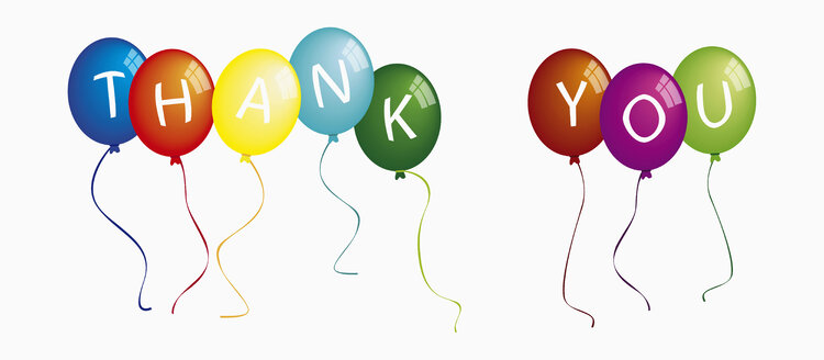 Text thank you on colorful balloons against white background - TSF000139