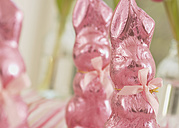 Pink wrapped chocolate easter bunnies - WBF000861