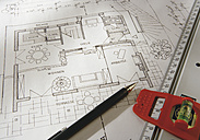Blueprint with pen and tape measure, close up - WBF001039