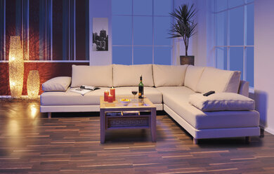 View of modern living room with wooden floor - WBF001041