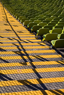 Germany, Bavaria, Munich, View of green seats in olympic stadium - PS000433