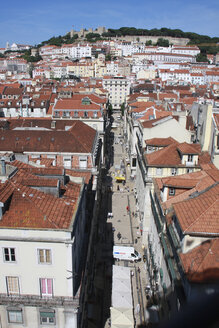 Portugal, Lisbon, View over baixa district with sao jorge castle in background - PSF000469