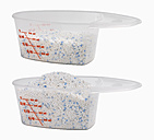 Measuring cups with detergent against white background - WBF001074