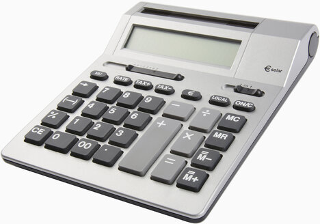 Desktop calculator on white background, close up - WBF001164