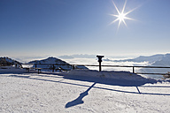 South Germany, Upper Bavaria, View of observation point with binocular from Wendelstein mountain - FOF003386