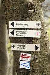 Germany, Franconia, Franconian Switzerland, Muggendorf, View of signpost at hiking trail - SIE001435