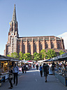Germany, Bavaria, Munich, Auer Dult, View of annual market fair with Maria Hilf church in background - LF000266