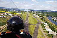 Europe, Germany, Rhineland-Palatinate, Koblenz, View of landing approach of gyrocopter - CS015059
