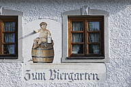 Germany, Bavaria, Upper Bavaria, Pfaffenwinkel, Wessobrunn, View of wall painting on restaurant wall exterior - SIE001577