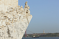 Europe, Portugal, Lisbon, Belem, Padrao dos Descobrimentos, View of monumental sculpture of Portuguese seafaring near river Tagus - FO003449